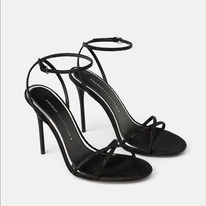 Zara black velvet high heeled sandal